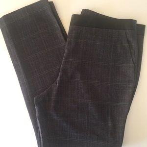 Dana Buchman Leather Trim Plaid Pants Tapered 16